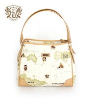 Danny Bear Printing Fashion Women Handbags Shoulder bags Khaiki Red db13606-23khaki