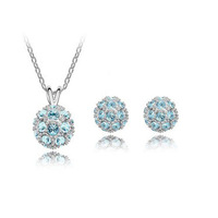 New 2014 Wholesale Austria Crystal Ball Stud Earring Necklace & Pendant Shamballa Jewelry sets For Women Party Silver Plated