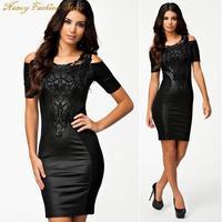 ML XL Plus Size 2014 New Fashion Women Leather Black Bodycon Bandage Dress Summer Embroidery Casual Dress