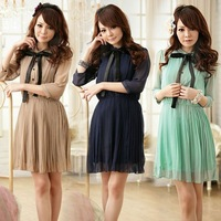 Ruffle Chic Fab Pleated Lovely Dress 3 Colours Free Shipping