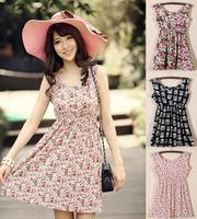 15 Patterns Women's Floral Dresses 2014 Summer New Sweet Vest Dresses Round Neck Slim Sleeveless Dress Women Floral Dresses