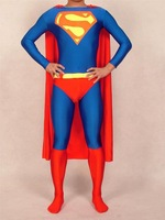 2014 New Arrival High Quality HALLOWEEN Cosplay Adult Superman Costume, Skin-tight, made of Lycra Spandex, classic Red & Blue