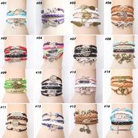 Hot Jewelry  Vintage Anchors Rudder Rectangle Leather Bracelet Multilayer Bracelets Hunger Games  For Womens 2B001-2B019