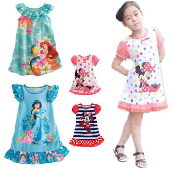 2014 новый принцесса минне мыши новорожденных девочек костюм мультфильм печать платье 3 ~ 7 age дети одевается бесплатная доставка 1 шт. розничная