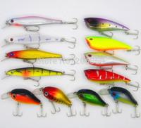 Mixed 3 style 12pcs/set fishing lures set Minnow/ Crankbait / Poppers, Hard bait artificial fish wobbler fishing tackle swimbait