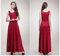 New Arrival Top Quality 2014 Women's Summer Sleeveless Dress Red Lace Slim Dress Long Maxi Dress