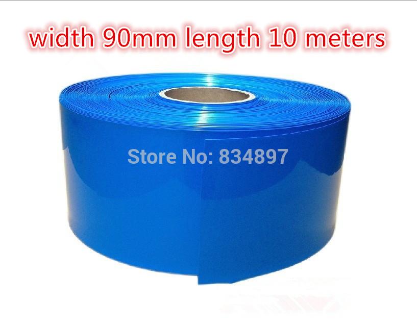 length 10 meters width 90mm blue pvc heat shrink tube battery cartridge battery crust(China (Mainland))
