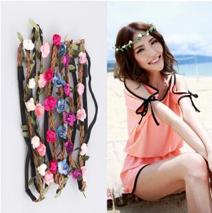 2014 New Women boho  Bohemian 5 floral Flowers HeadbandsBraided Leather Elastic Headwrap for Ladies Hair Ornaments(China (Mainland))