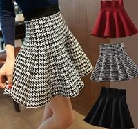 2014 New Fashion Women Spring Autumn and Winter OL Houndstooth Short Skirts ladies Ball Gown Skirt  saias femininas FQ073