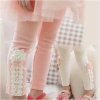 Hot selling 2014 Spring flower girl pants baby girl leggings kids cotton fashion legging children autumn pant girls' leggings