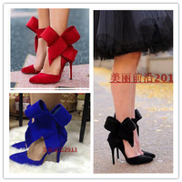 Newest sexy 2014 pointed toe big bowtie women pumps fashion high quality suede high heel shoes party shoes orange green pink red