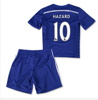 14/15 Chelsea home Blue Kids #10 Eden Hazard  Full Set ( jersey set) , 2014-2015 Chelsea boys youth jersey Kits as Gift