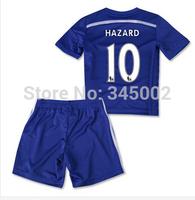 14/15 Chelsea home Blue Kids #10 Eden Hazard  Full Set ( jersey set) , 2014-2015 Chelsea boys youth jersey Kits as Gift
