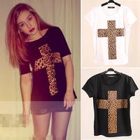 2014 New 3D Printed Leopard Cross T Shirt Women tees women type T-shirts Short Sleeve quality Women's Printed Tee Tops