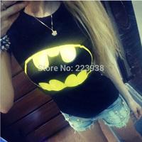 New 2014 Fashion Brand Women T-shirts printed Batman short sleeve t shirts Stretch Cotton tees Modal tops plus size S/M/L
