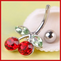 ChinaStock Pretty Rhinestone Red Cherry Navel Belly Button Barbell Ring Body Piercing Save up to 50%