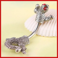 ChinaStock Stainless Steel Lizard Rhinestone Navel Belly Button Barbell Ring Body Piercing Save up to 50%