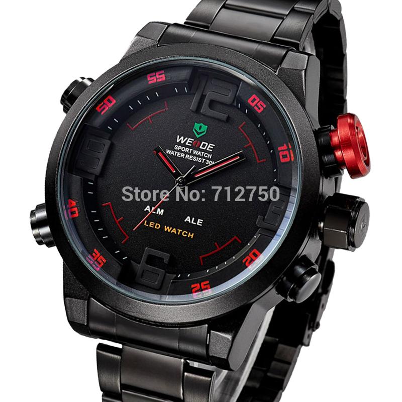 nuovo 2014 Weide uomini di sport orologi in acciaio inox 30m impermeabile a doppio led guardare orologio militare relogio masculino maschio orologio