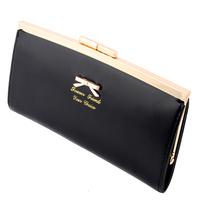 Fashion Desigual Women Long PU Leather Card Holders Clips Flower Hasp Buckle Open Wallets Golden Bowknot Purse Clutch Bags