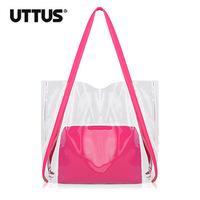 Fashion Summer Soft PVC Transparent Bright Color Block Big Size Shoulder Bags