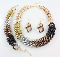 2014 Free Shipping New Celebrity Design Style Colorful Chunky CCB Curb Chain Necklace Bracelet Earring Jewelry Set