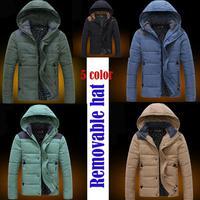 New 2014 Down Jacket Winter Jacket Outdoors Jackets For Men Casual Jacket Men Men's Winter Warm Padded detachable cap thick Coat