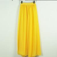 Spring High Quality New 2014 Elegant Popular Women Brand Maxi Skirts Bohemian Chiffon Yellow Creative Skirts Women's Clothing