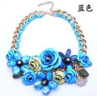 2014 Spring New Design Gold Chain Spray Paint Metal Flower Resin Beads Rhinestones Crystal Bib Necklace Luxury Jewelry
