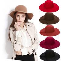 Noble ladies wool floppy hat large fedora wide brim fashion chapeu women solid beach sun summer dome wool felt hat