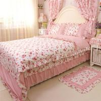 Sunny 2015 new Korean garden princess SNQH bedding set quilted duvet cover bedspread pillow cover wedding decoration bedclothes