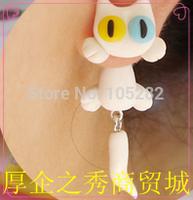 2014 mini order$25 Hot sale!Women's Kitty cat DIY Polymer clay Earrings Jewelry Handmade girl'Persian 925 silver split earring