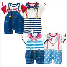retail new 2013 autumn -summer clothing set,newborn baby/bebe boy romper,sport suit,baby ,navy style gentleman clothes(China (Mainland))