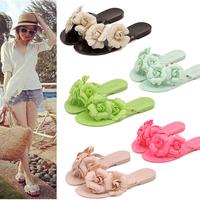 Brand Women Camellia Flower 2014 new Melissa jelly camellia sandals summer shoes flat cool beach slippers women size 36-40