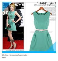 New 2014 fashion summer women's dresses sleeveless vest simplicity round neck tunic dress
