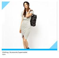 2014 spring new European style fashion short-sleeved dress  Heather Grey elastic waist