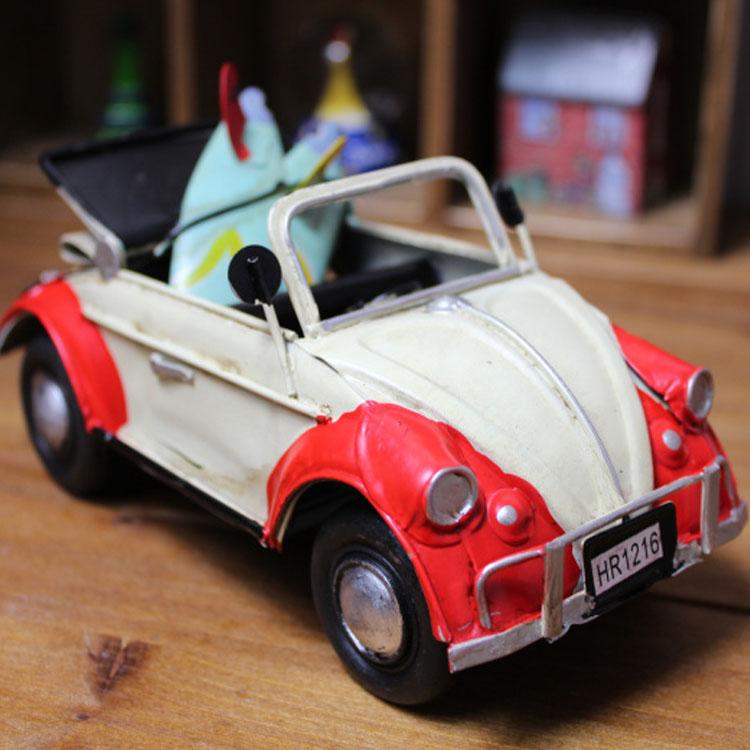 Birthday gift home decoration handmade retro finishing iron convertibles automobile race model crafts(China (Mainland))
