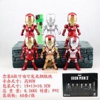 American Hero Iron Man 3 Light toys 6pcs set pvc action figure classic toys