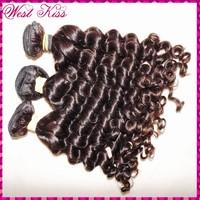 "Hot selling dark brown Virgin 8A Malaysian curly as hair 3 bundles(300g) 12""-28"" sale flawless WestKiss weave in STOCK"