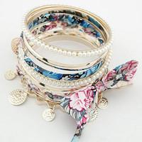 2014 zinc alloy pearl flower  bracelets & bangles for women fashion statement  jewelry  hot sale good gift