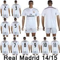 New arrival 14/15 Real Madrid home white soccer jersey +shorts,pepe sergio ramos coentrao khedira ronaldo kaka benzema bale kits