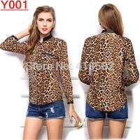 Y001-Hot Fashion Sexy Leopard Print  Women Blouse Summer long sleeve Chiffon Shirt  S-XL free shipping