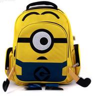 2014 Children School Bag Canvas Cartoon Despicable Me  II Minions Child Yellow Backpack Kids Schoolbag Students School Bags