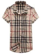 2015 new arrival women summer short sleeve blouse ladies fashion leisure shirt plaid grid apricot size M-XXL