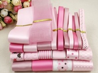 26 yards/ set fashion Champagne and pink series  satin / grosgrain/cotton lace ribbon DIY ribbons set