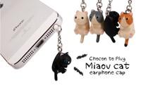 Free Ship! New Arrivals Q cat kitten dust Plug for iPhone ipad Samsung htc, cat Anti Dust Earphone Plug Headset Stopper Cap