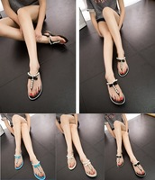 Free shipping Girls Pearl rhinestone open toe clip toe summer beach sandals Women flat sandals and slippers Beautiful Shoes new