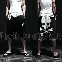 2014 summer skull print male knee-length shorts trousers male trousers harem shorts