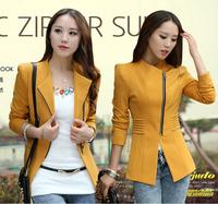 Women blazer 2014 Spring autumn Zipper closed design womens blazer puffs sleeve feminino casual ruffles slim suit plus size XL