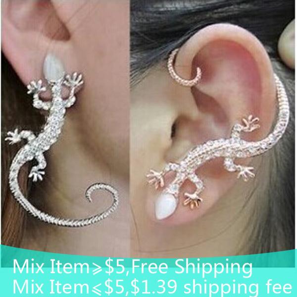 2015 Fashion Rhinestone Ear cuff Earrings luxury Elegant rose gold exaggerated gecko lizards Stud Earrings