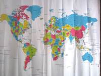 2014 new Polyester  Waterproof World Map Shower Curtain  free  shipping